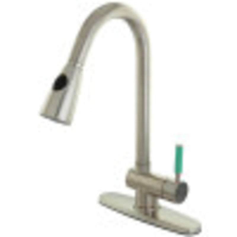 Gourmetier GS8898DGL Green Eden Single-Handle Pull-Down Kitchen Faucet, Brushed Nickel
