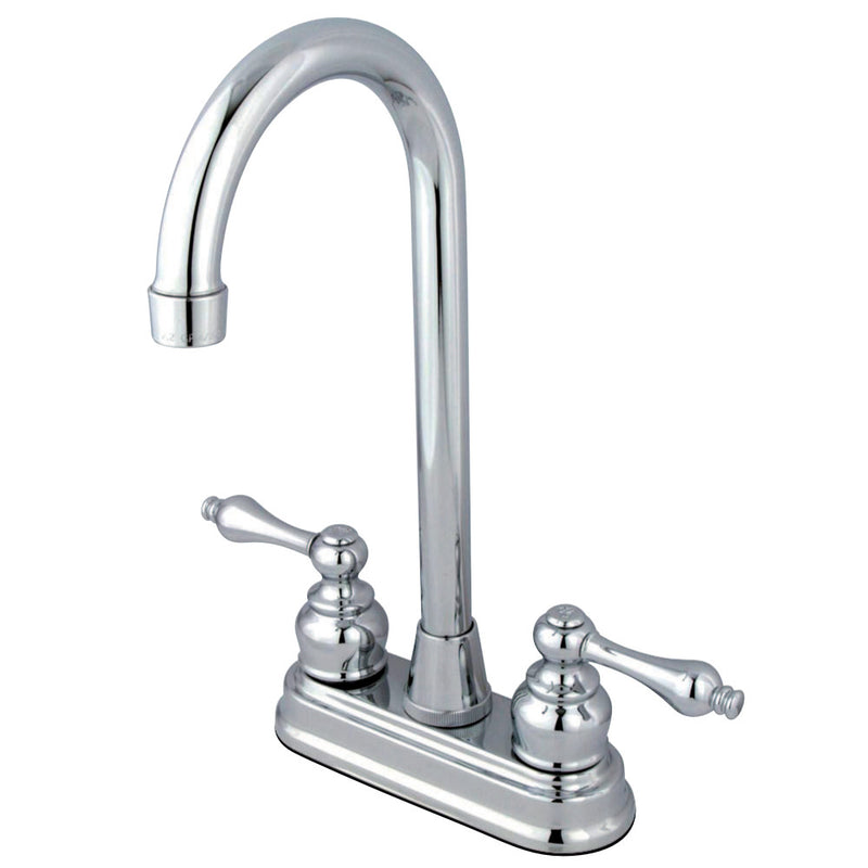 "Kingston Brass KB491AL Victorian 4"" Centerset High Arch Bar Faucet, Polished Chrome"