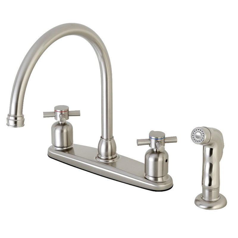 Kingston Brass FB798DXSP Concord 8-Inch Centerset Kitchen Faucet with Sprayer, Brushed Nickel