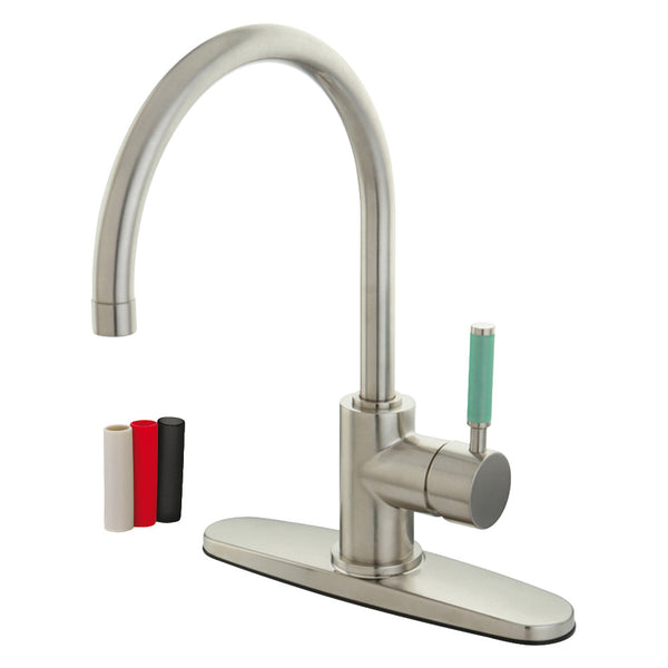 Gourmetier GS8718DGLLS Green Eden Single-Handle Kitchen Faucet with Deck Plate, Brushed Nickel