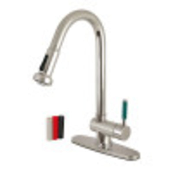 Gourmetier GS8888DGL Green Eden Single-Handle Pull-Down Kitchen Faucet, Brushed Nickel