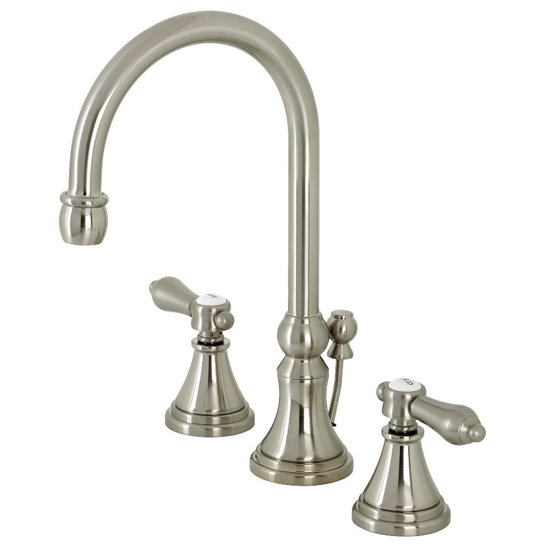 Kingston Brass KS2988BAL Heirloom Widespread Bathroom Faucet with Brass Pop-Up, Brushed Nickel