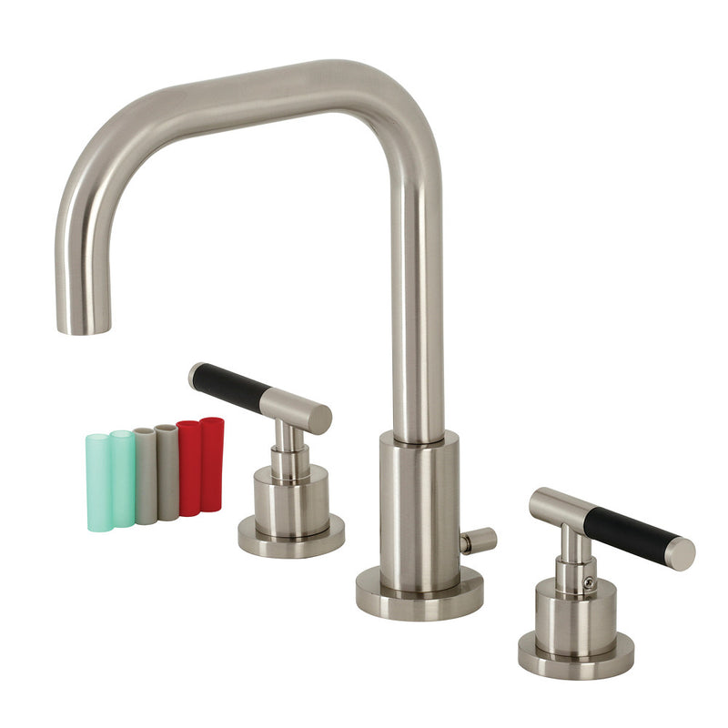 Fauceture FSC8938CKL Kaiser Widespread Bathroom Faucet with Brass Pop-Up, Brushed Nickel