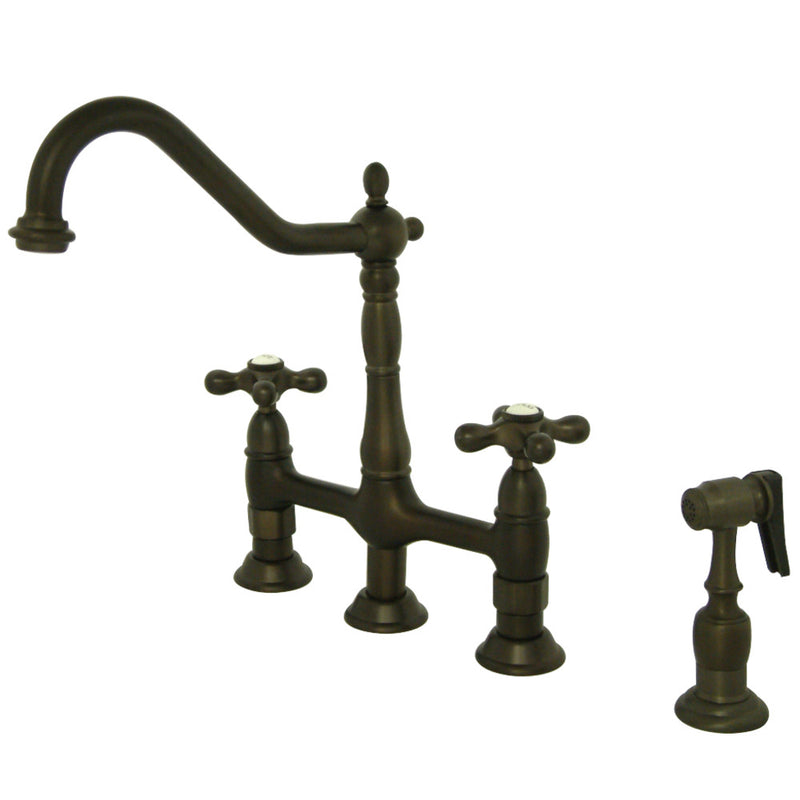 Kingston Brass KS1275AXBS Heritage Bridge Kitchen Faucet with Brass Sprayer, Oil Rubbed Bronze
