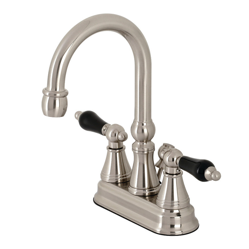 Kingston Brass KS2618PKL Duchess 4 in. Centerset Bathroom Faucet with Brass Pop-Up, Brushed Nickel