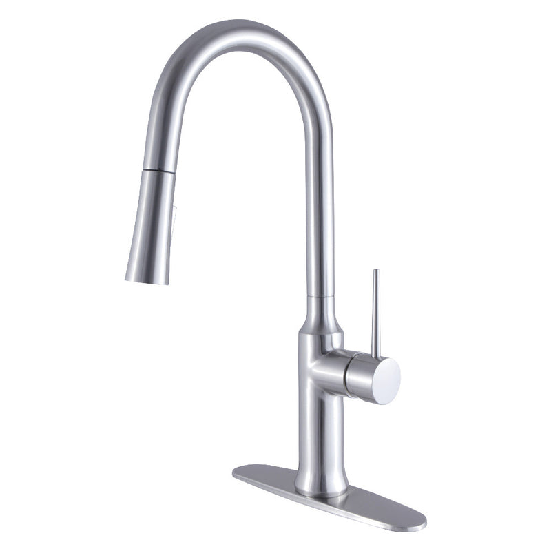 Gourmetier LS2728NYL Single-Handle Pull-Down Kitchen Faucet, Brushed Nickel
