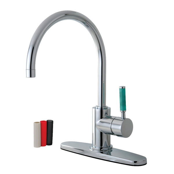 Gourmetier GS8711DGLLS Green Eden Single-Handle Kitchen Faucet with Deck Plate, Polished Chrome