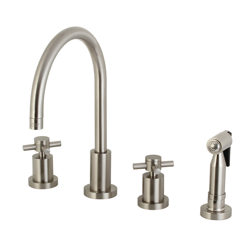 "Kingston Brass KS8728DXBS 8"" Widespread Kitchen Faucet with Brass Sprayer, Brushed Nickel"