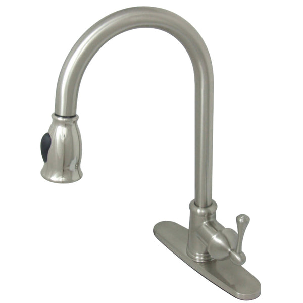 Gourmetier GS7888BL Vintage Pull-Down Single-Handle Kitchen Faucet, Brushed Nickel