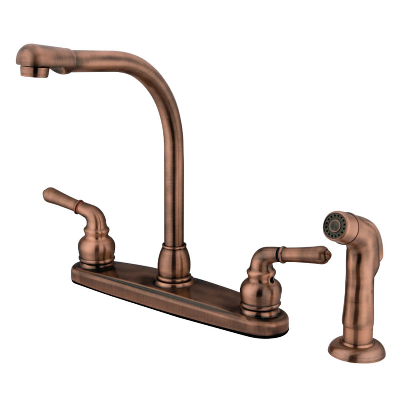 Kingston Brass GKB756SP Magellan Centerset Kitchen Faucet, Antique Copper