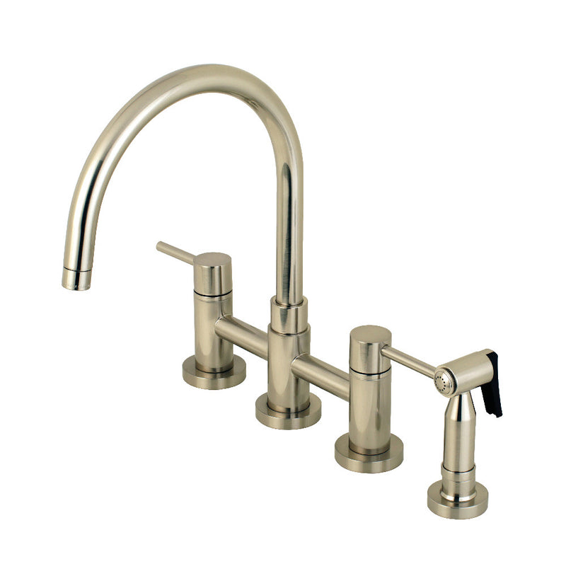 Kingston Brass KS8278DLBS Concord Two-Handle Bridge Kitchen Faucet with Brass Side Sprayer, Brushed Nickel