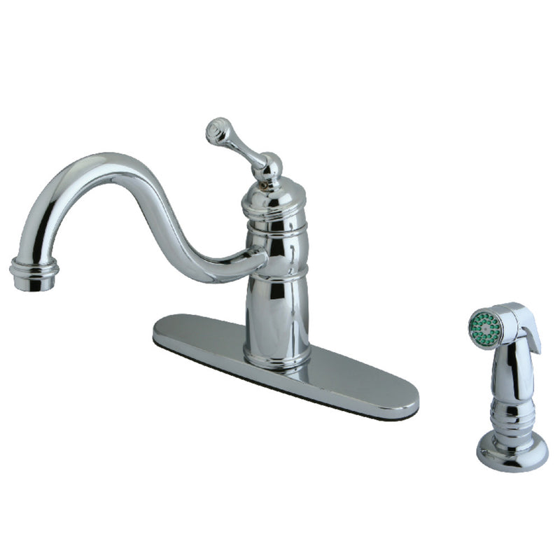 Kingston Brass KB1571BLSP Mono Deck Mount Kitchen Faucet With Sprayer, Polished Chrome