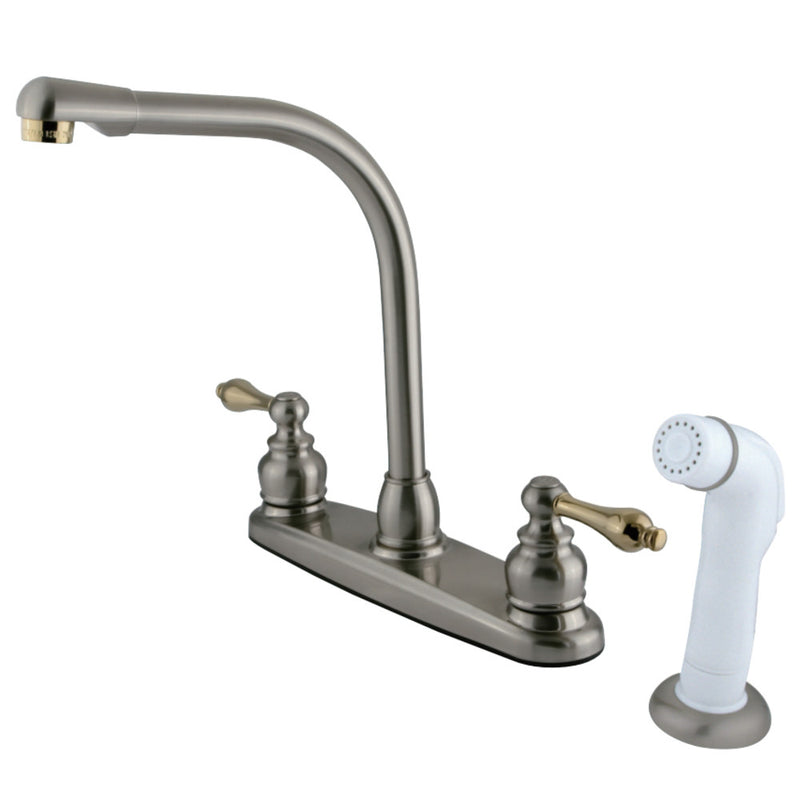 Kingston Brass KB719AL Victorian Centerset Kitchen Faucet, Brushed Nickel/Polished Brass