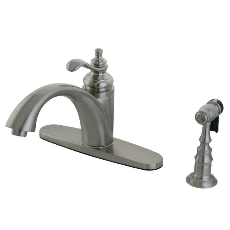 Gourmetier GS6578TLBS Templeton Single-Handle Kitchen Faucet with Brass Sprayer, Brushed Nickel