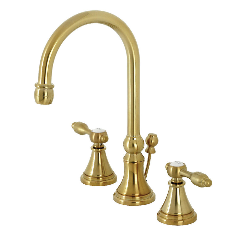 Kingston Brass KS2987TAL Tudor Widespread Bathroom Faucet with Brass Pop-Up, Brushed Brass