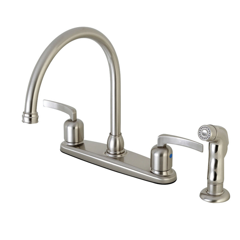 Kingston Brass FB798EFLSP Centurion 8-Inch Centerset Kitchen Faucet with Sprayer, Brushed Nickel