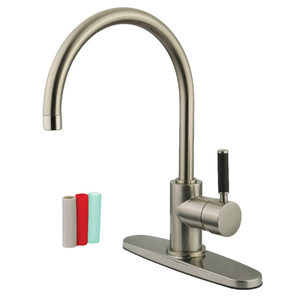 Gourmetier GS8718DKLLS Kaiser Single-Handle Kitchen Faucet, Brushed Nickel