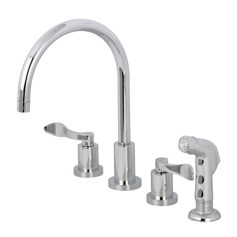 Kingston Brass KS8721DFL 8-Inch to 16-Inch Widespread Kitchen Faucet, Polished Chrome