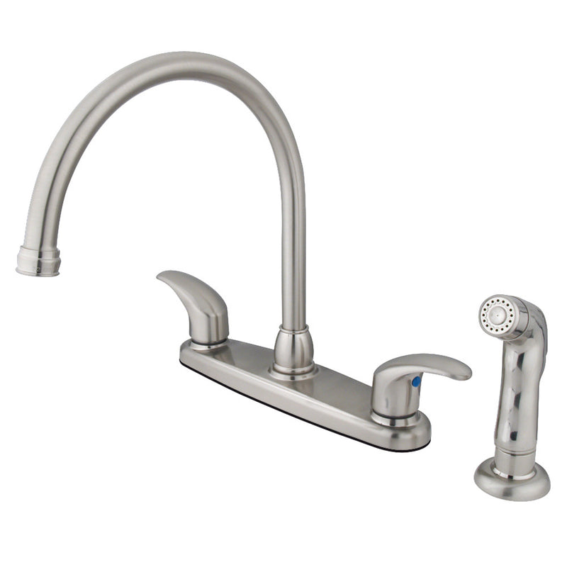 Kingston Brass KB6798LLSP 8-Inch Centerset Kitchen Faucet, Brushed Nickel