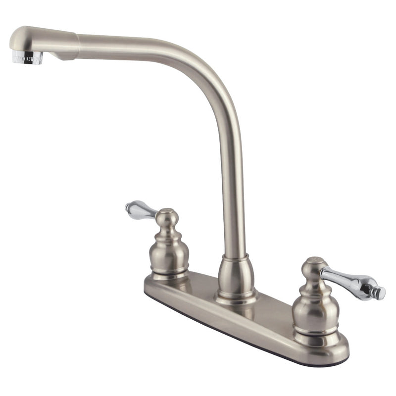 Kingston Brass GKB717ALLS Victorian Centerset Kitchen Faucet, Brushed Nickel/Polished Chrome