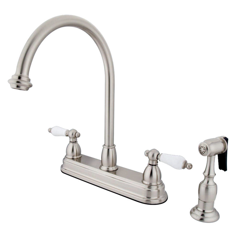 Kingston Brass KB3758PLBS Restoration Centerset Kitchen Faucet, Brushed Nickel