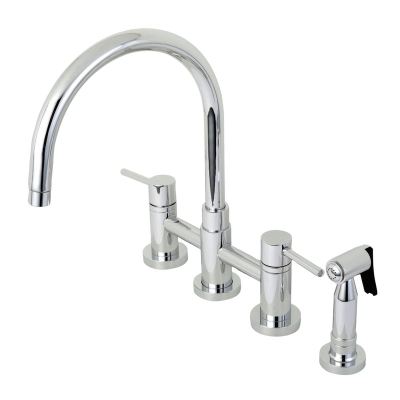Kingston Brass KS8271DLBS Concord Two-Handle Bridge Kitchen Faucet with Brass Side Sprayer, Polished Chrome