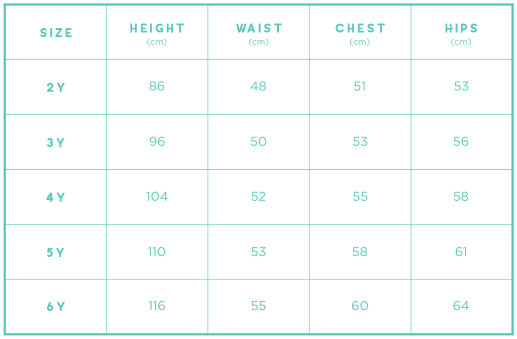 Girl Sizing Chart