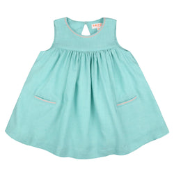 Colette Keyhole Dress Mint with Watermelon Stitching