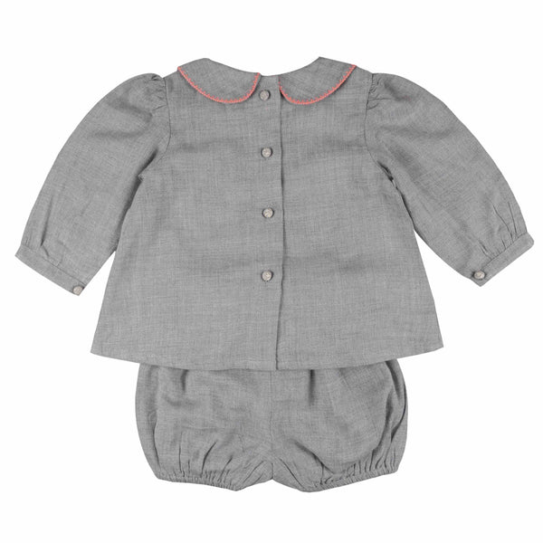 Ada Lovelace Romper Set Dove with Watermelon Stitching