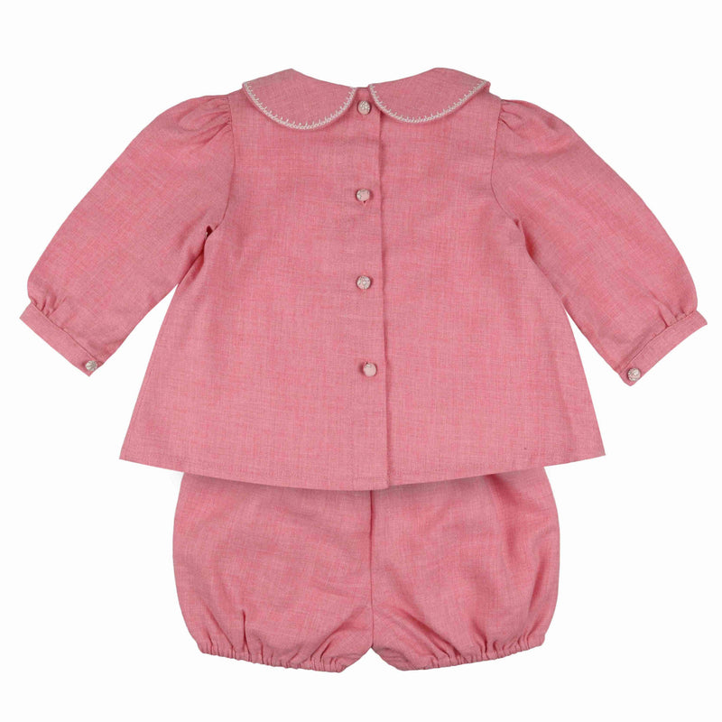 Ada Lovelace Romper Set Strawberries and Cream with Milk Stitching