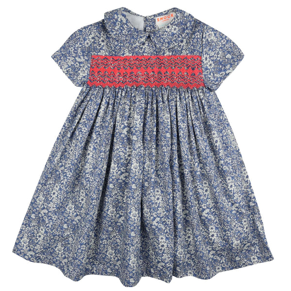 Antoinette Dress China Blue Floral with Funky Flamingo Smocking