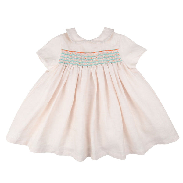 Antoinette Dress Peach Sherbet Linen with Mint/Spearmint/Neon Orange Smocking