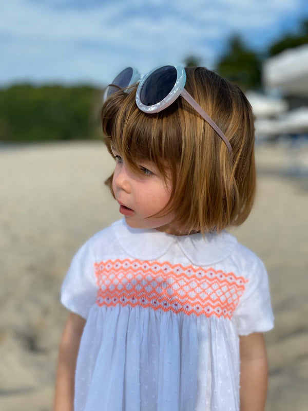 Antoinette Dress White Spot with Watermelon Smocking