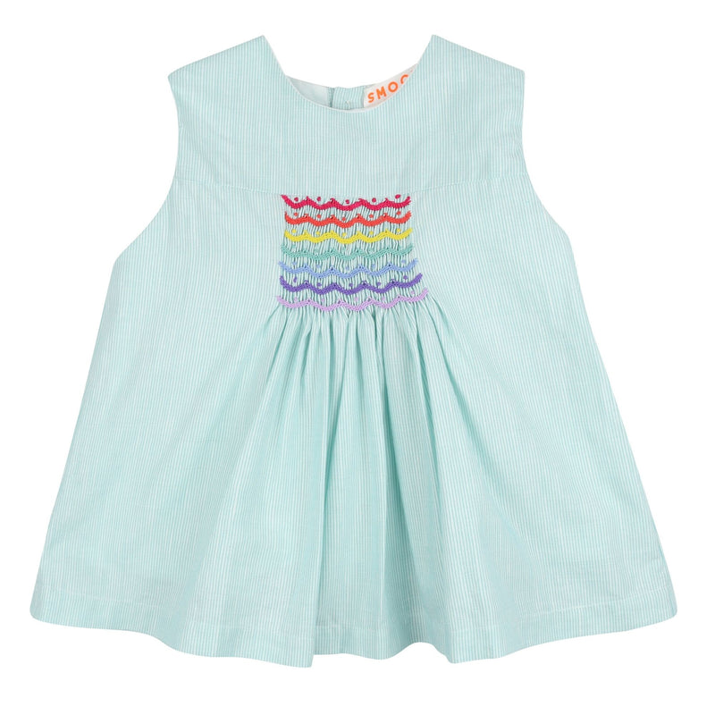 Aretha Summer Blouse Green Stripe Linen with Rainbow Smocking