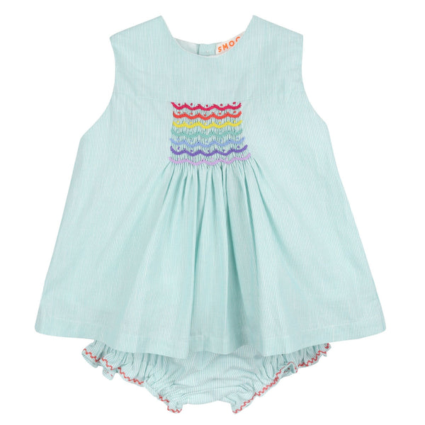 Aretha Summer Blouse and Bloomer Set Green Stripe Linen with Rainbow Smocking