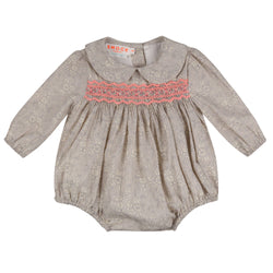 Austen Romper Liberty Grey Capel with Watermelon Smocking