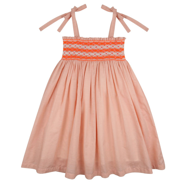 Beatrix Potter Sundress Peach Linen/Cotton with Neon Orange/White Diamond Smocking