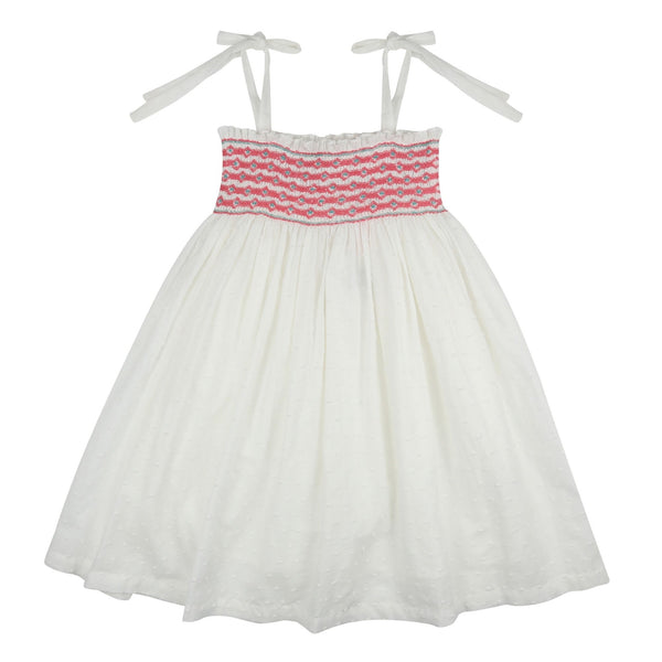 Beatrix Potter Sundress White Spot with Strawberry and Mint Diamond Smocking