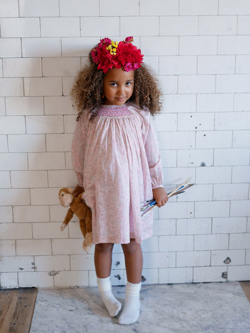 Kahlo Dress Liberty Pink Capel with Sugar Mouse/Raspberry Smocking