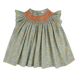 Coco Short Sleeve Blouse Liberty Michelle with Neon Orange Smocking
