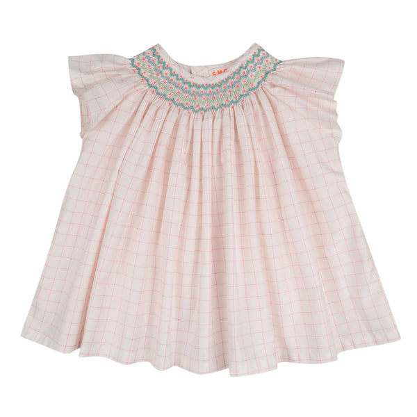 Coco Short Sleeve Blouse Pink Check with Apple/Mint/Funky Flamingo Smocking