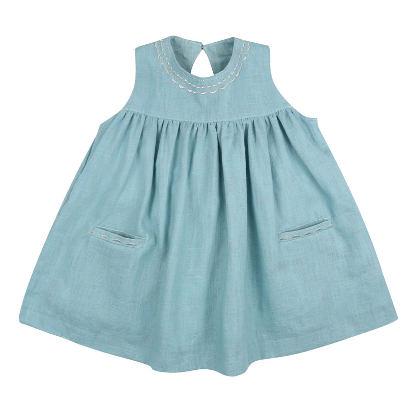 Colette Keyhole Dress Aqua Washed Linen with Silver Embroidery