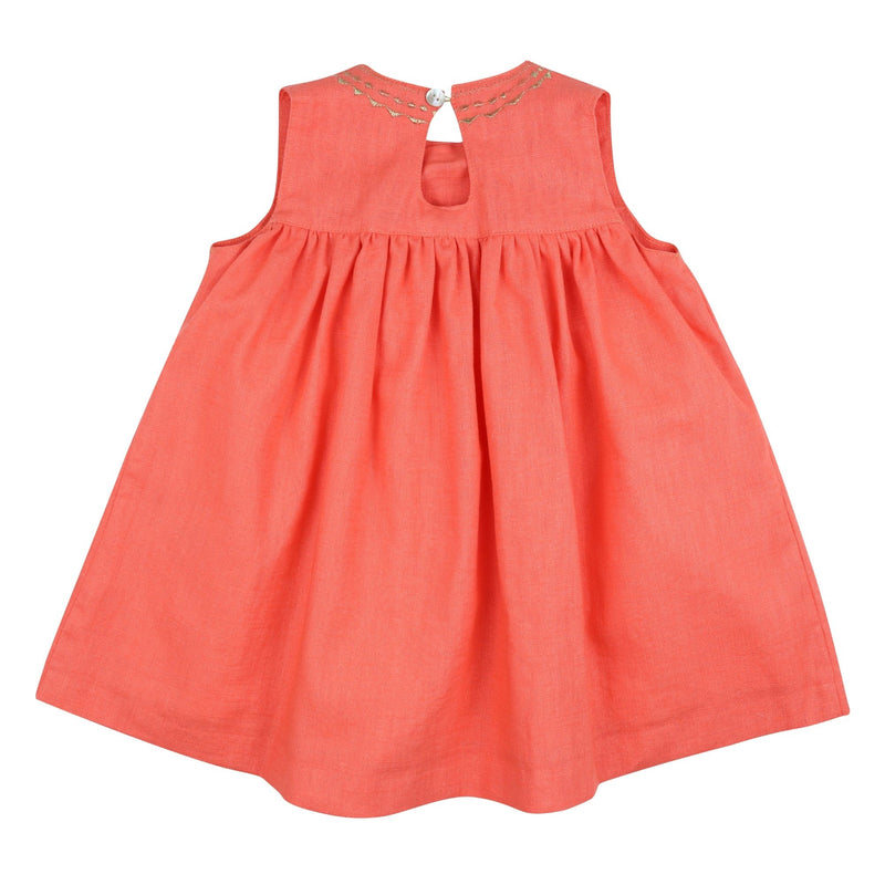 Colette Keyhole Dress Coral Washed Linen with Gold Embroidery