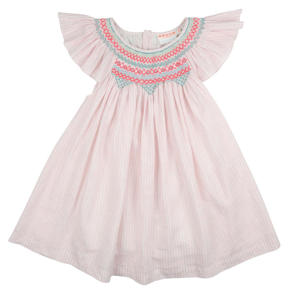 Indira Gandhi Flutter Dress Pale Pink Stripe Linen with Apple/Spearmint/Funky Flamingo Smocking