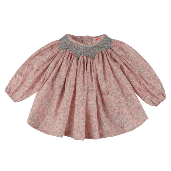 Joan of Arc Blouse Liberty Pink Capel with Mint Smocking