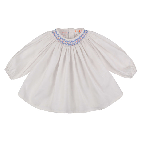 Joan of Arc Blouse Snow with Periwinkle Smocking