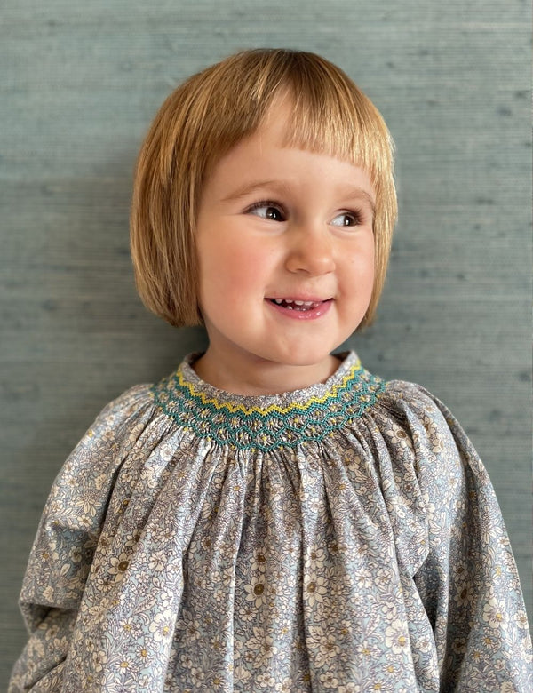 Joan of Arc Blouse Aqua Floral with Neptune/Lemon Smocking