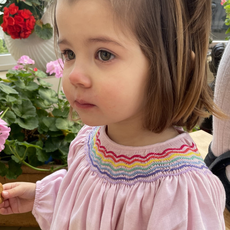 Joan of Arc Blouse Cherub Wool/Cotton with Rainbow Smocking