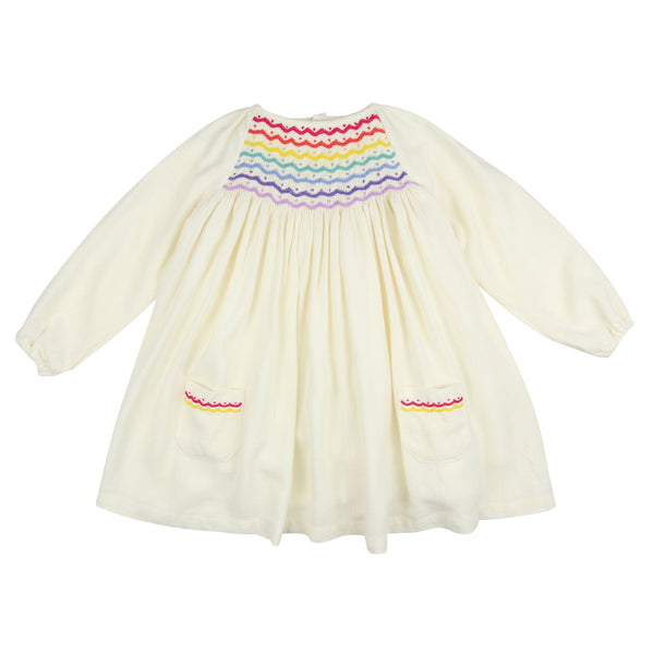 Kahlo Dress Ivory with Rainbow Smocking