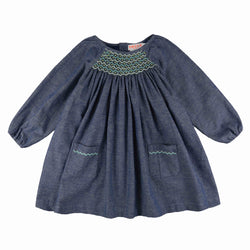Kahlo Dress True Blue Chambray with Apple/Mint Smocking